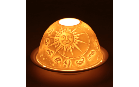 Tea light holder - porcelain - Signs of the zodiac