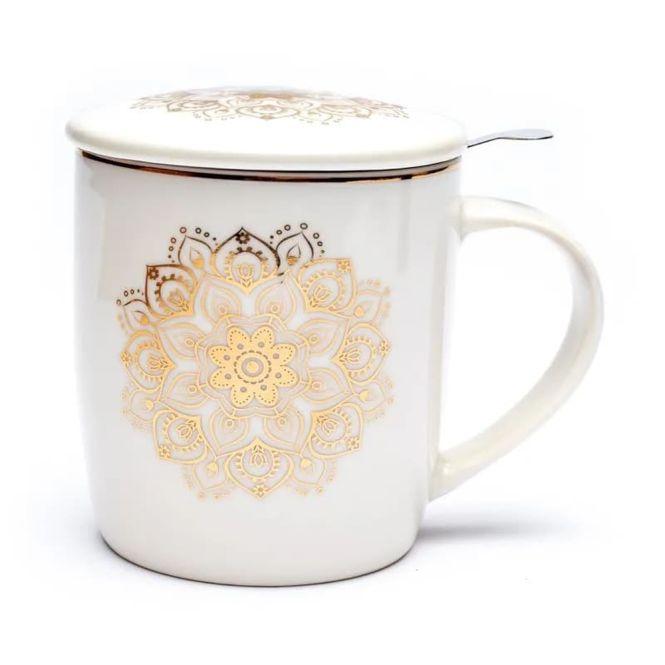Set teacup mandala white / gold