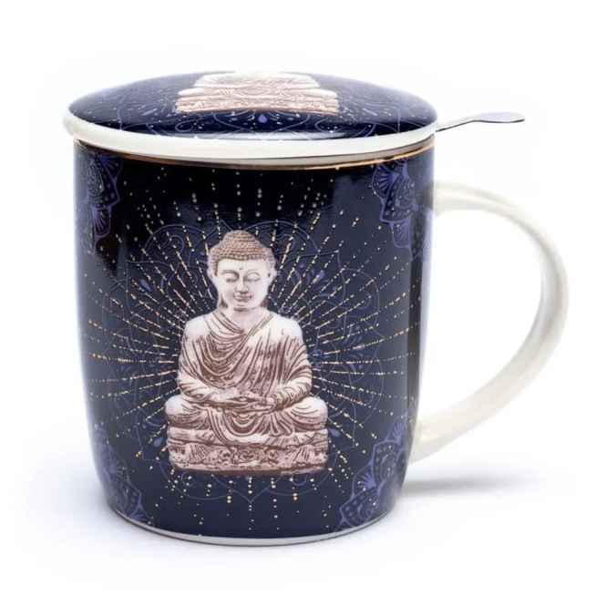 Set of teacup Buddha blue