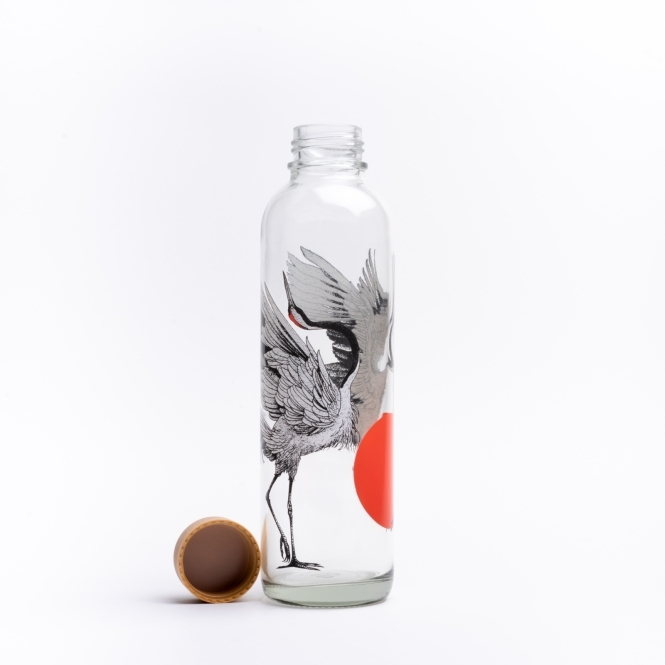 Glass drinking bottle CARRY 0.7 l DANCING CRANES